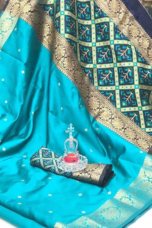Sky Soft Banarasi Cotton Silk Saree - gnp007999