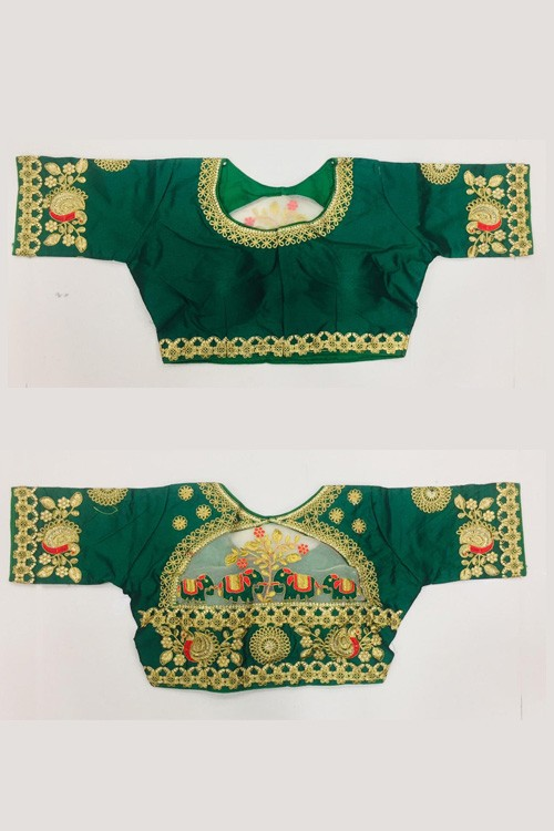 Women's Floral Design Hand Embroidery Gold Thread and Stone work Readymade Blouse at grabandpack.com gnp006219
