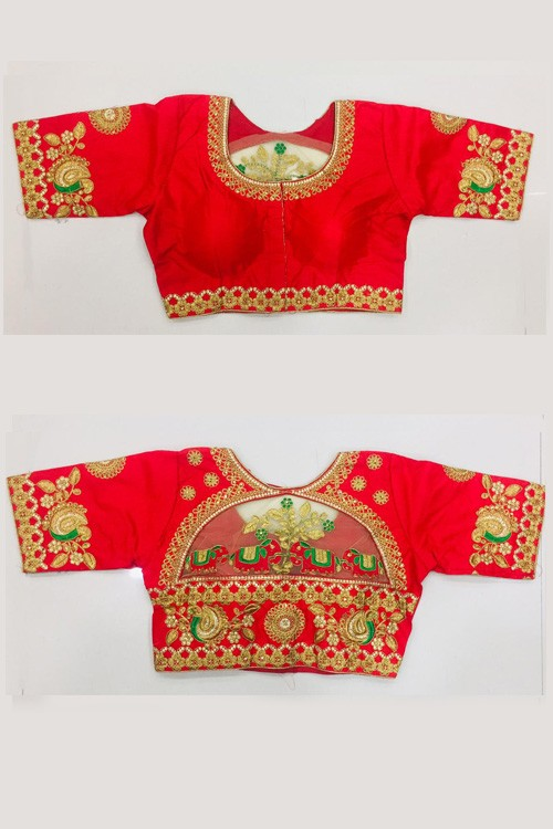Women's Floral Design Hand Embroidery Gold Thread and Stone work Readymade Blouse (Red) gnp006221