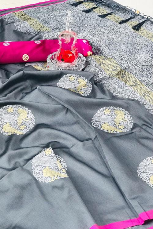 Women's Banarasi silk Weaving saree in Grey gnp007275