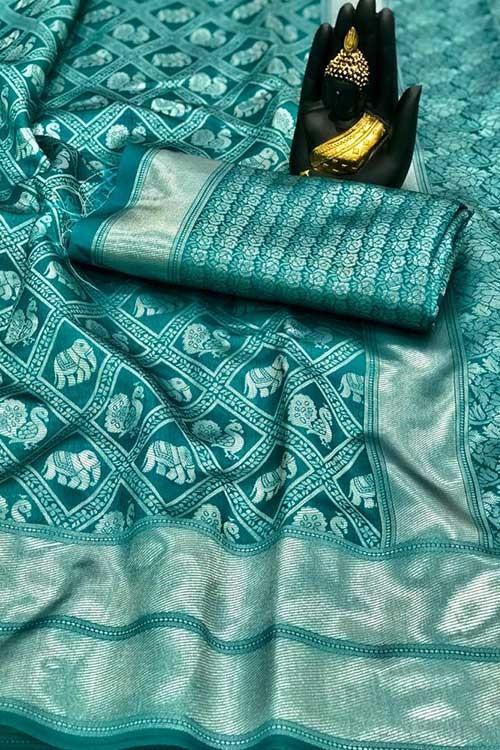 Women's Banarasi silk Weaving saree in Sea Green - gnp00765
