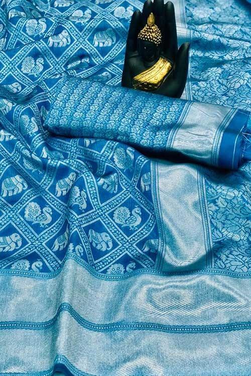 Women's Banarasi silk Weaving saree in Sky - gnp007658