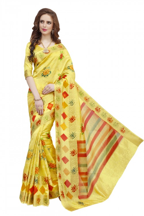 Yellow Colored Beautiful Nylon Jacquard Hand Prinred Saree With Beautiful Blouse