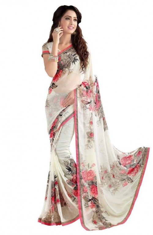 white Color floral Printed Beautiful weightless saree with Blouse1