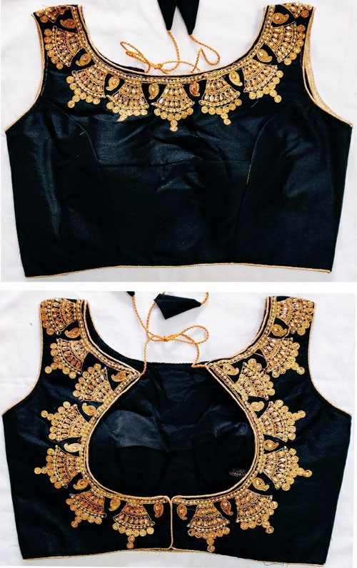 Ready made Designer Blouse - Online zari thread embroidery with stone work (Black) gnp006661
