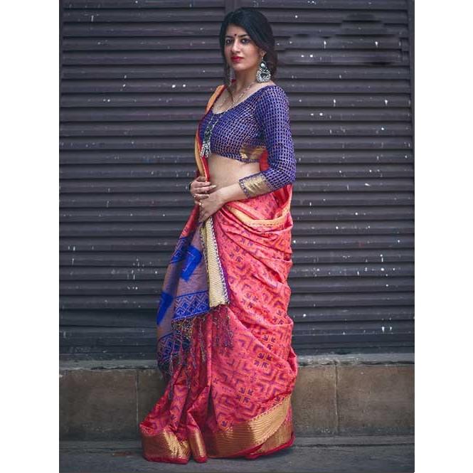 2a7ba169ad Beautiful Colored Heavy Banarasi Silk Saree With Fancy Blouse | Shop Now