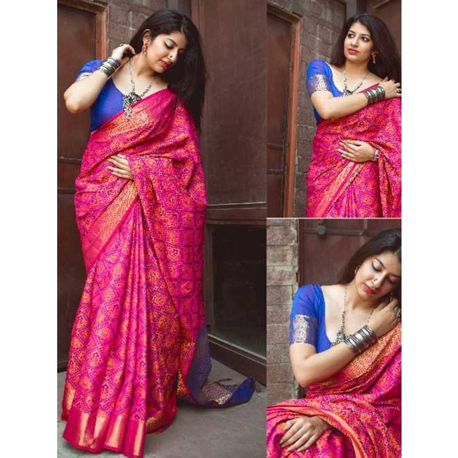 07e1b0b0ca900 ... Beautiful Colored Heavy Banarasi Silk Saree With Fancy Blouse. Pink
