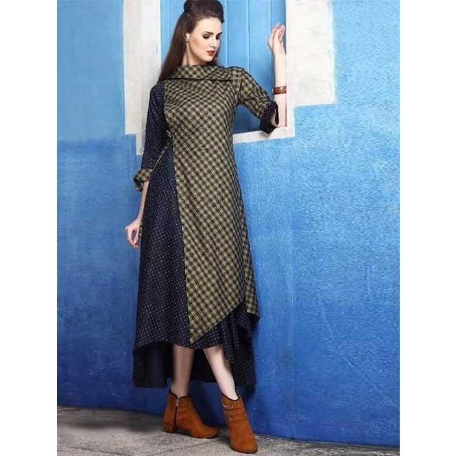 f97f16c4ca Beautiful Green Colored Checkered Cotton Silk Indo-western Kurti ...