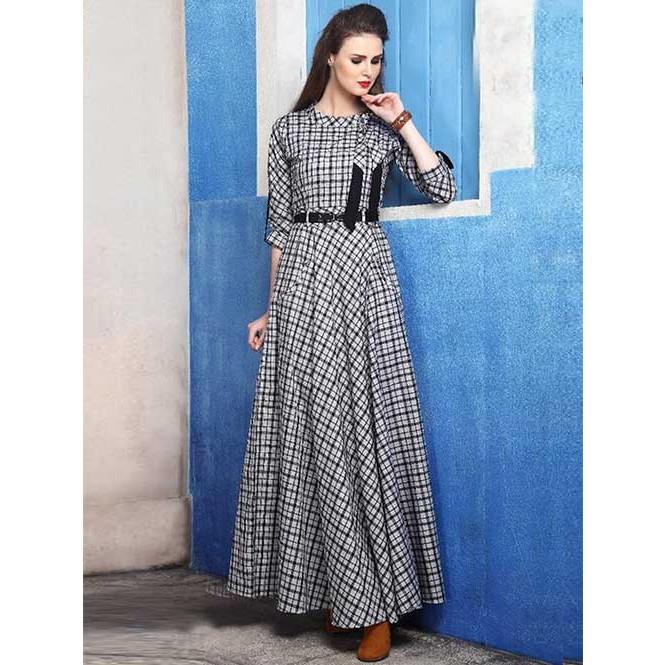 dcc13938faec Beautiful Black and White Colored Indo-western Checked Cotton Silk ...