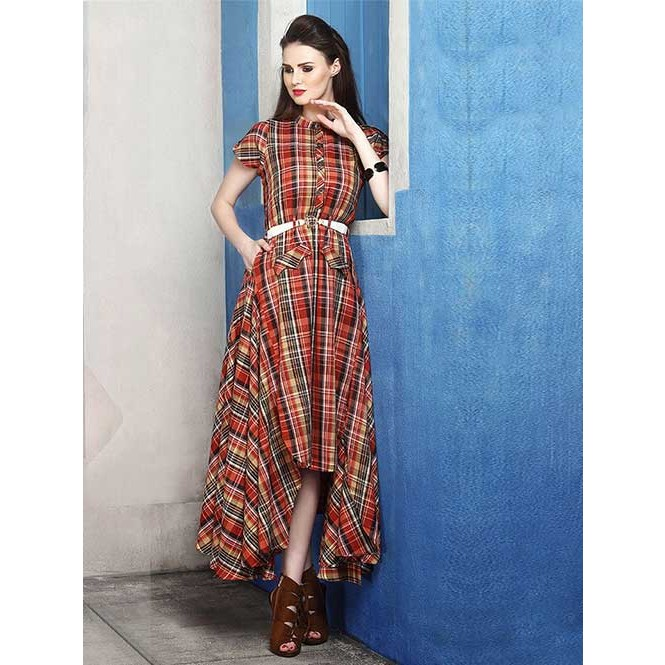 e3c754de53 Beautiful Red Colored Cotton Silk Checkered Indo-western Kurti ...