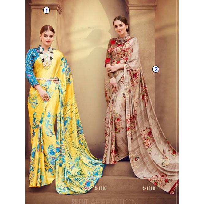 b8c5355c07b75b ... Beautiful Colored Satin Silk Printed Saree With Stitch Work Blouse -  Mirrow. Multi