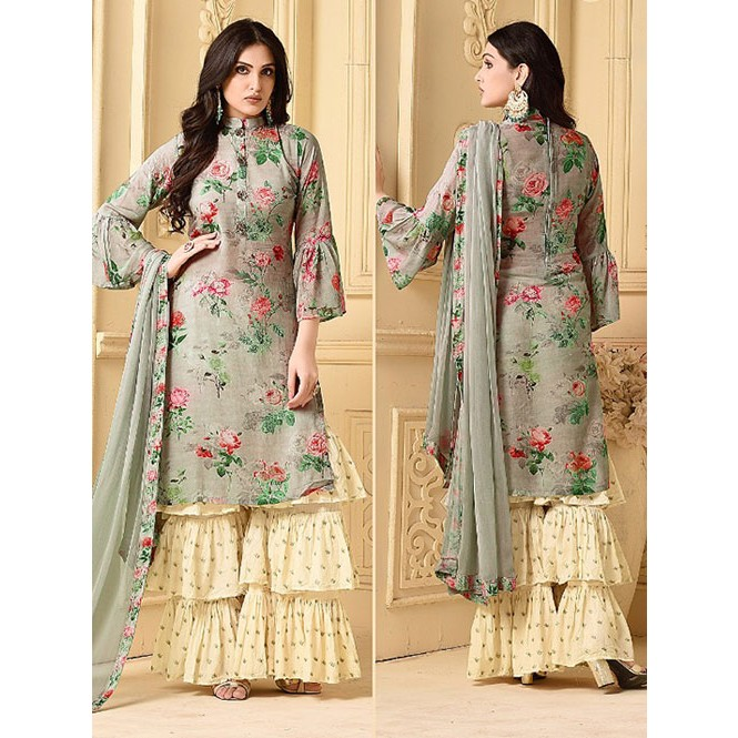 0af25daf9e Beautiful Digital printed Jam Cotton Silk Salwar Suit with Stitched sarara.