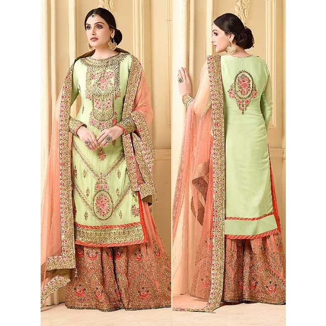 f9258bd7cd8 ... Beautiful Heavy Pista Embroidered Faux Georgette Salwar Suit with  Embroidered Stitched sarara.-Pista. Green