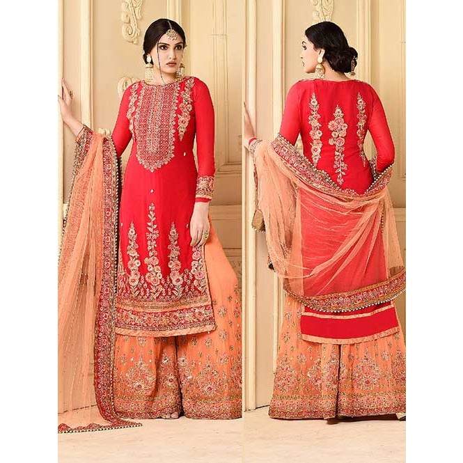 b9ba3a6200e Beautiful Heavy Embroidered Red Faux Georgette Salwar Suit with Embroidered  Stitched sarara.-Red. Be the first to review this product