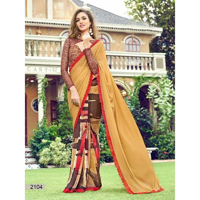 78dfbcd17bb Beige Colored chiffon and Faux Georgette Printed Saree With Beautiful Blouse  Display Gallery Item 1 ...