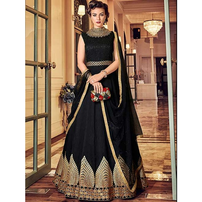 4d412d92a235 Black and Gold Embroidered Branded Banglory Silk Anarkali Suit ...