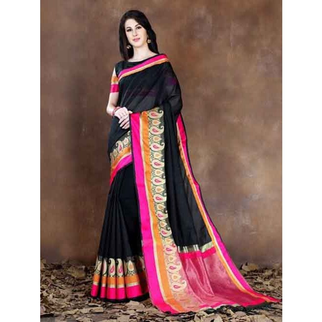 5237c2c73c423 Black Colored Beautiful Pure Soft Cotton Saree With Exclusive Latkan  Display Gallery Item 1 ...