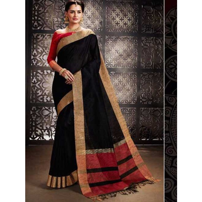 ba9a337ead Black Colored Beautiful Raw Silk Saree With Double Blouse Display Gallery  Item 1 ...