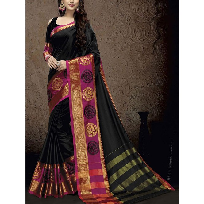 38385ea2dfca63 Black Colored Branded Cotton Silk Saree With Beautiful Peacock Work ...