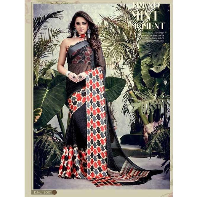 5cc4c2ce8 Black Colored weightless Satin Patta Printed Saree Display Gallery Item 1  ...