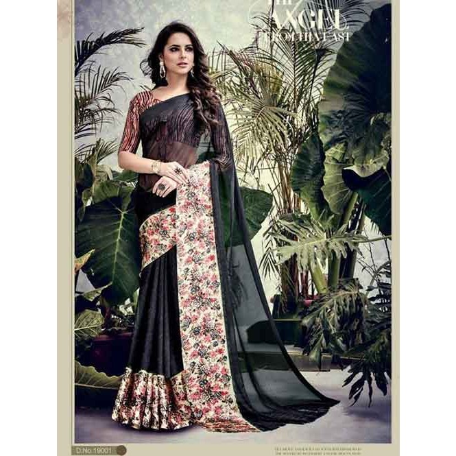 cf5b90bf9 Black Colored weightless Satin Patta Printed Saree