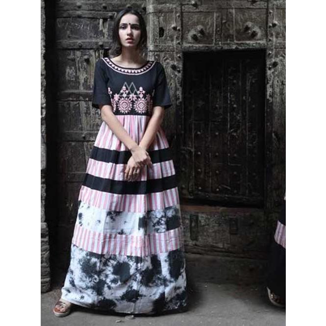 efbf5e254541 Black Strip Long Linen Maxi Dress With Embroidered Yoke
