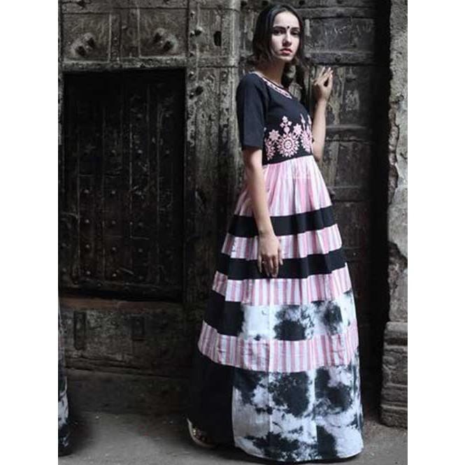 612eaf492f69 ... Long Linen Maxi Dress With Embroidered Yoke. Black · Black Display  Gallery Item 1 · Black Display Gallery Item 2 ...