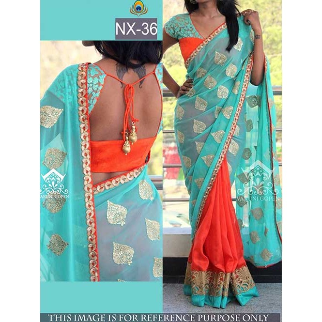 95b38eaffaa6e Blue and Orange Colored Beautiful embroidered Georgette Saree with Beautiful  Blouse Display Gallery Item 1 ...