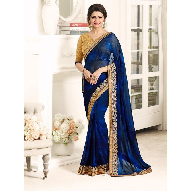 c3503ea119 Navy Blue Color Designer Beautiful Georgette Saree with Blouse ...