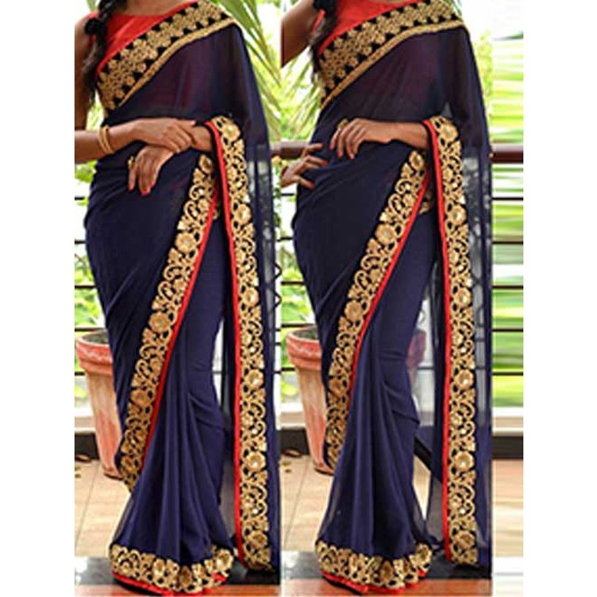 01f195bad9370 Blue Colored Beautiful Embroidered Georgette Saree Display Gallery Item 1  ...