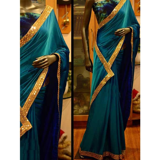 c5e76472d58ce Blue Colored Beautiful Embroidered Paper Silk Saree Display Gallery Item 1  ...