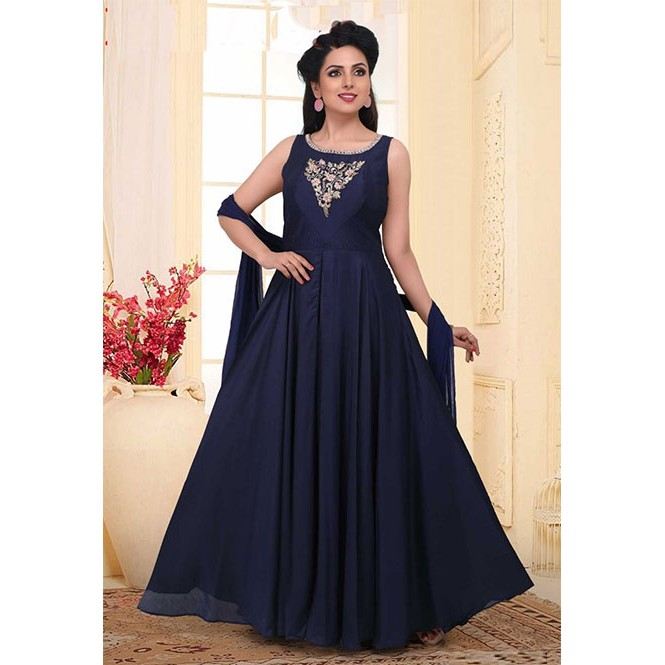 a5742718f38 ... Beautiful Neck and Yoke Embroidered Ready Made Faux Georgette Anarkali  Suit With Matching Bottom and Dupatta. Navy
