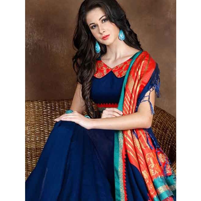 7ef5a61651546 Blue Colored Beautiful Pure Soft Cotton Saree With Exclusive Latkan ...