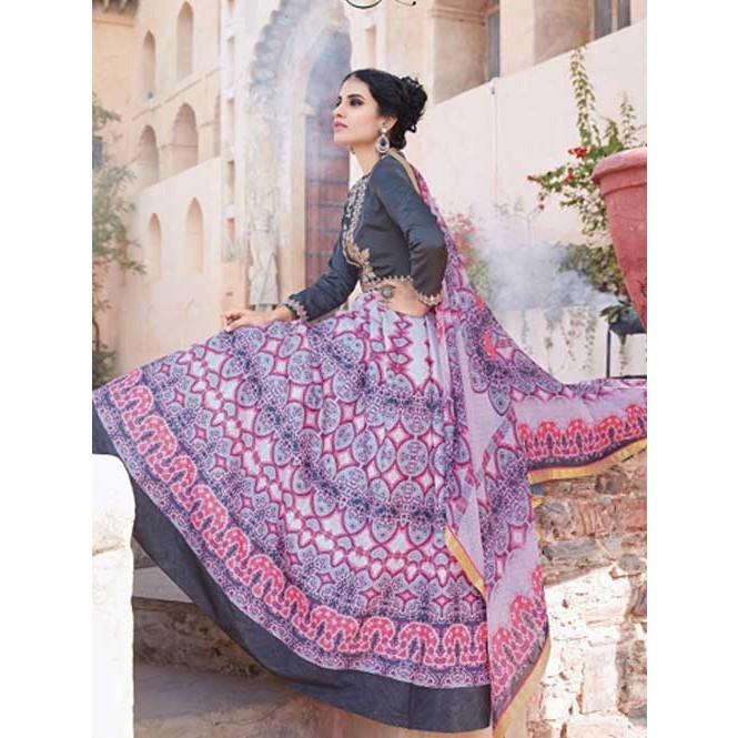 e92d56a2782 Blue colored Gorgeous Printed Tapeta Silk Anarkali Suit ...