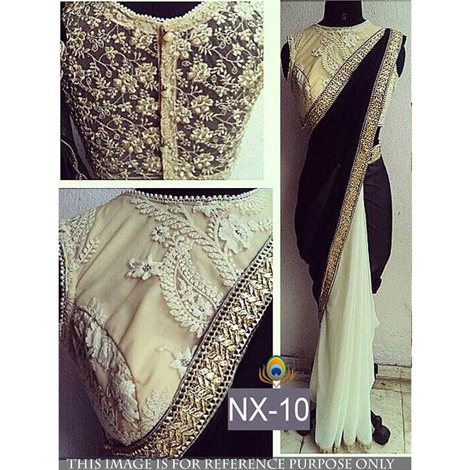 dc2564b5f431e Black and White Colored Gorgeous Velvet And Chiffon Georgette Saree With  Beautiful Blouse