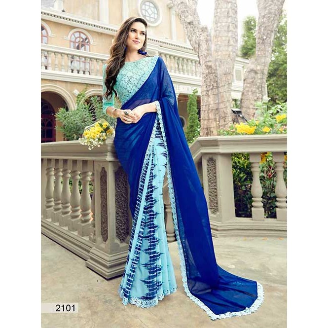 5c0606e13d4 Blue Colored Printed chiffon and Faux Georgette Saree With Beautiful Blouse