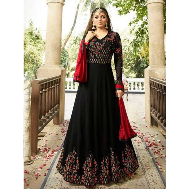 Branded Black Colored Heavy Embroidered Georgette Anarkali Suit