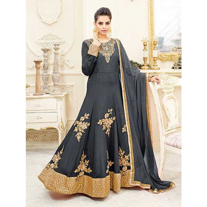 8bb609fd0d ... Colored Chiffon Heavy Embroidered Long Anarkali Suit - Shemaya. Grey