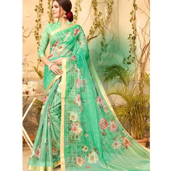 6335a9eb8f Branded Multi Color Beautiful Organza & Linen Silk Digital Printed ...