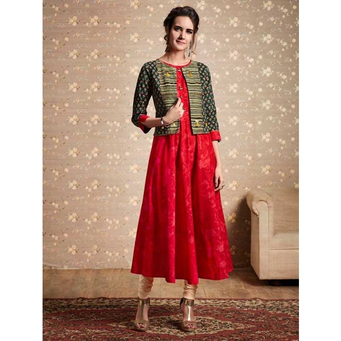 02aa276ece3 Branded Red Colored Beautiful Printed Cotton and Rayon Kurti with ...