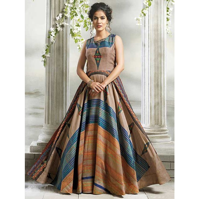 Buy Beige Colored Chanderi Cotton with Digital Print Long Gown ...
