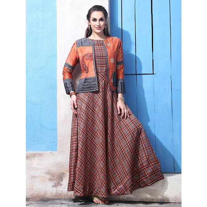 d7e6545120 ... Chanderi Cotton with Digital Print Long Gown with Banarasi Silk Koti.  Multi
