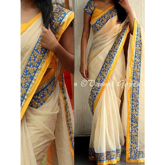 a1e0f2315 Cream Colored Beautiful Embroidered Nylon Silk Saree Display Gallery Item 1  ...