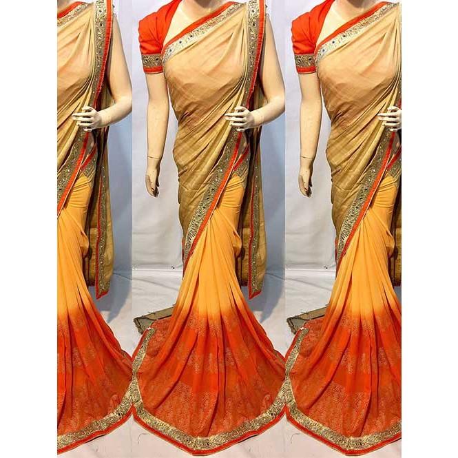 3d154ef672f1b0 Cream Colored Beautiful Printed Pure chiffon soothe fabric Saree ...