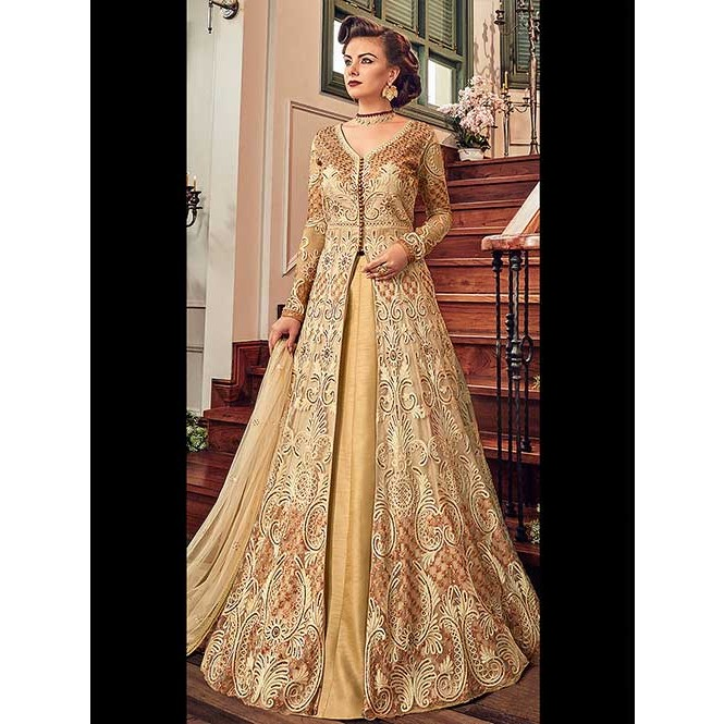 964a34e546 ... Cream Embroidered Branded Premium Net Anarkali Pant + Lehenga Suit -  Snow White. Cream