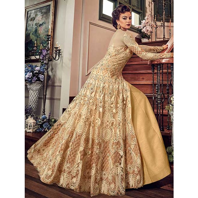 6a1aa29716 Cream Embroidered Branded Premium Net Anarkali Pant + Lehenga Suit - Snow  White