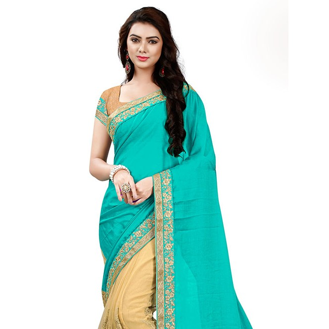 Cyan Color Designer Beautiful Chiffon And Net Saree With