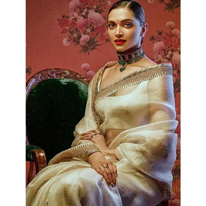 Deepika Padukone In Off White Chanderi Silk Printed Saree ...
