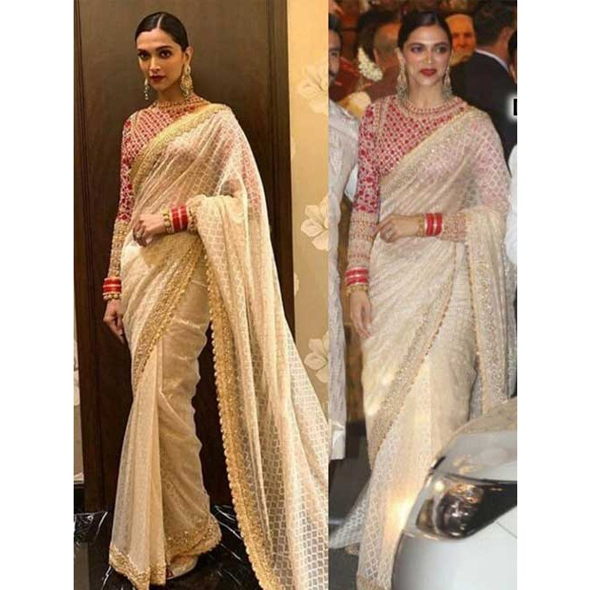 27122eb315 Deepika Padukone In Off White Mono Net Saree With Embroidered Work Display  Gallery Item 1 ...