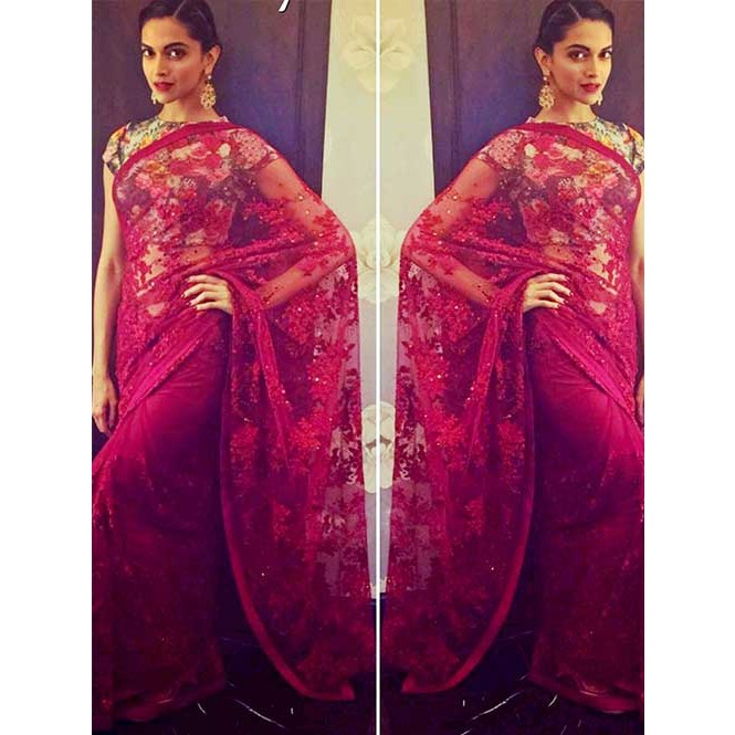Deepika Red Nylon Net Embroidered Saree Online Shop Now